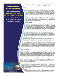 Solar Abcs Flammability Testing Of Standard Roofing